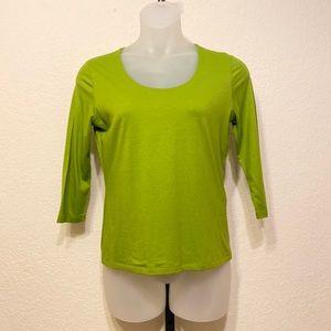 Talbots 3/4 Sleeve Spring Green v-neck Tee Medium